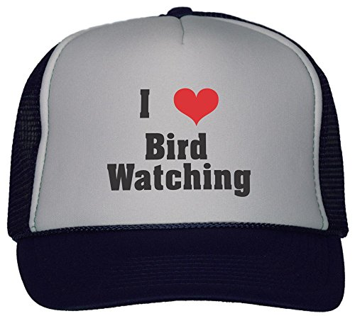 I Love/Heart Bird Watching Trucker Hat Cap Navy
