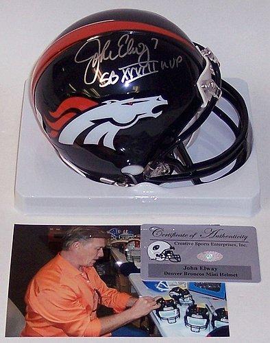 John Elway Autographed Denver Broncos Mini Helmet - PSA/DNA