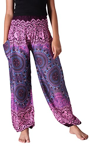 Bangkokpants Women's Boho Pants Hippie Clothes Yoga Outfits Peacock Design One Size Fits (Bohorose Pink) ()
