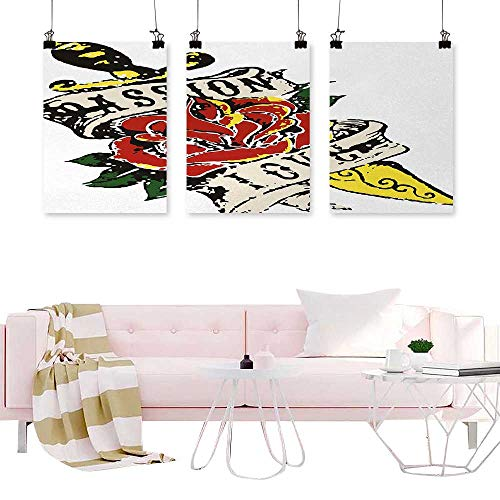 Jouiysce Wall Art 3 Piece Rose,Vintage Flower and Dagger in Tattoo Art Style Gothic Passion and Love Theme,Scarlet Yellow Green Art for Living Room Office 3 Pieces