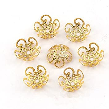 antique bronze 500PCS 11mm Gold Tone Flower Bead Caps Hollow Flower Bead Caps For Jewelry Making