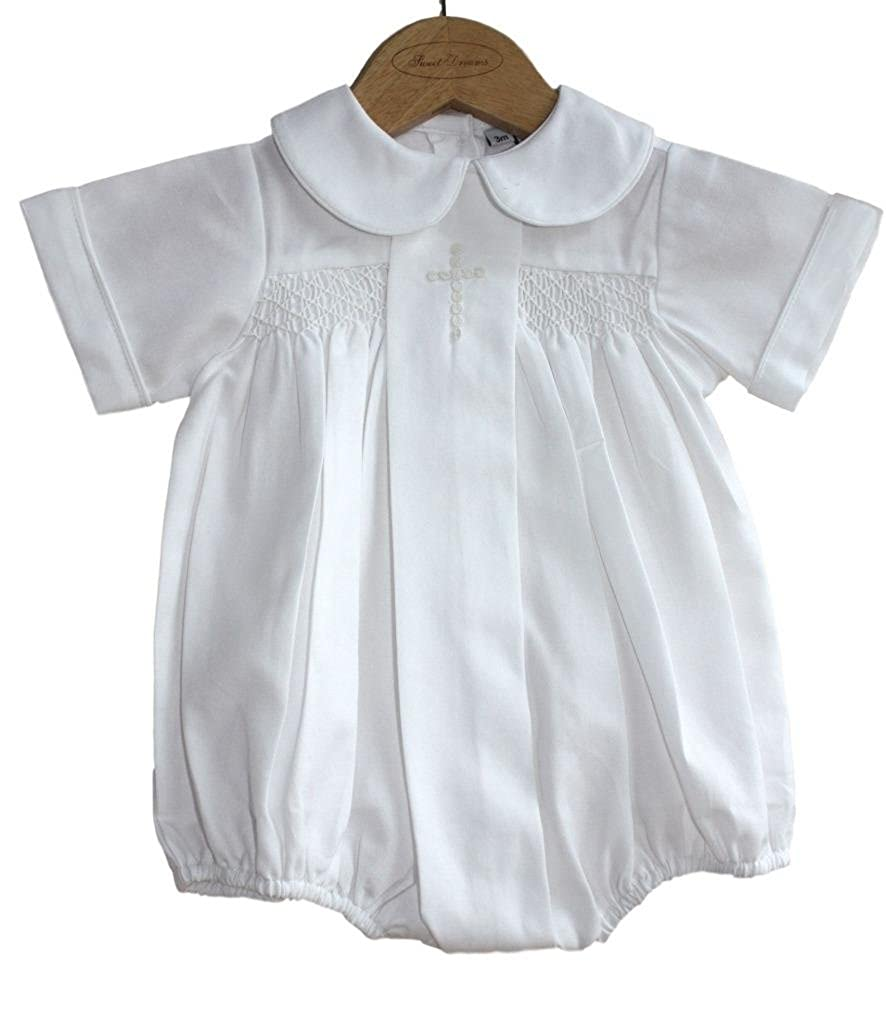 Sweet Dreams Baby Boys Christening Baptism Bubble Set Outfit Smocked Cross White