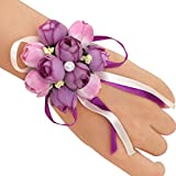 KSDN Girl Wedding Wrist Corsage Dance Party Hand Flower Decor Bracelet Pack of 5 Lilac