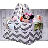 Diaper Caddy - NEW 2018: Chevron Gray Organizer - Storage Bag Great For Home, Travel and Gift Registry   Clean Easy - Strong and durable yet sophisticated