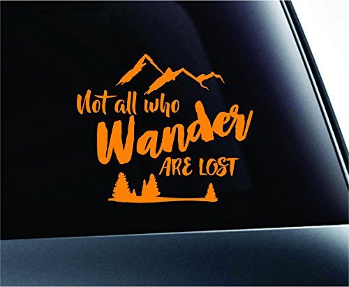 Not All Who Wander Arrows Explore Redemption Path Travel Computer Laptop Symbol Decal Family Love Car Truck Sticker Window (Orange) ()