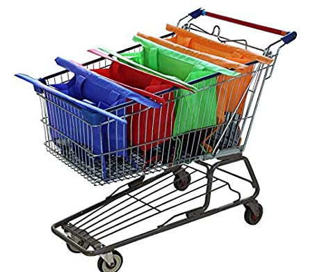 40fe27013fa Reusable Shopping Cart Bags and Grocery Organizer Designed for Trolley  Carts by Modern Day Living