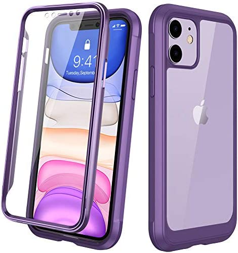 """DIACLARA Compatible with iPhone 11 Case, Full Body Rugged Case with Built-in Touch Sensitive Anti-Scratch Screen Protector, Soft TPU Bumper Case Clear Compatible with iPhone 11 6.1"""" (Purple and Clear)"""
