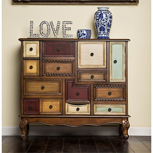 furniture of america whitney 9 drawer accent chest in antique walnut