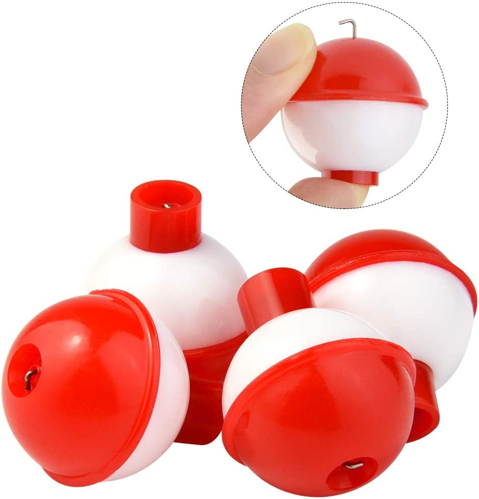 Red and White ABS Material Bskifnn 50 PCS Round Fishing Bobbers 1 Inch Float Bobbers Push Button