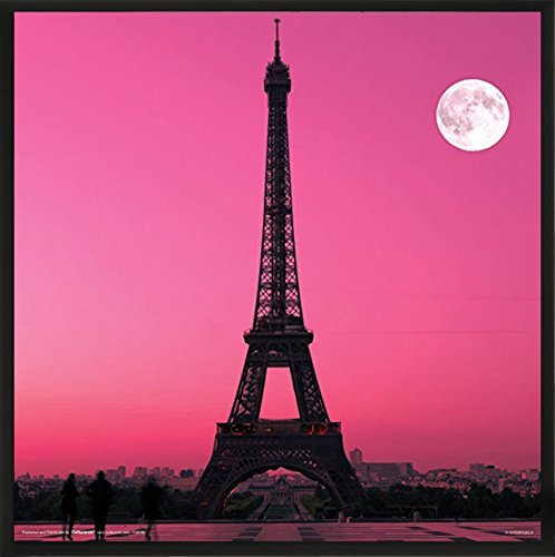 Paris France Eiffel Tower Pink Moon Decorative City Travel Photography Print Framed Poster