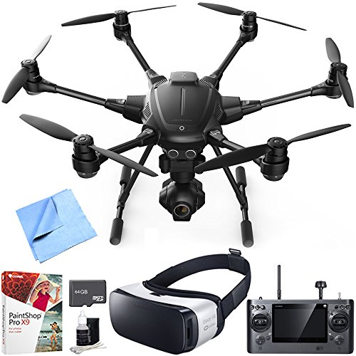 Yuneec Typhoon H RTF Hexacopter Drone with CGO3+ 4K Camera VR Bundle includes Drone, Samsung Gear VR Headset, 64GB microSD Memory Card, Cleaning Kit, Corel PaintShop Pro X9 and Beach Camera Cloth