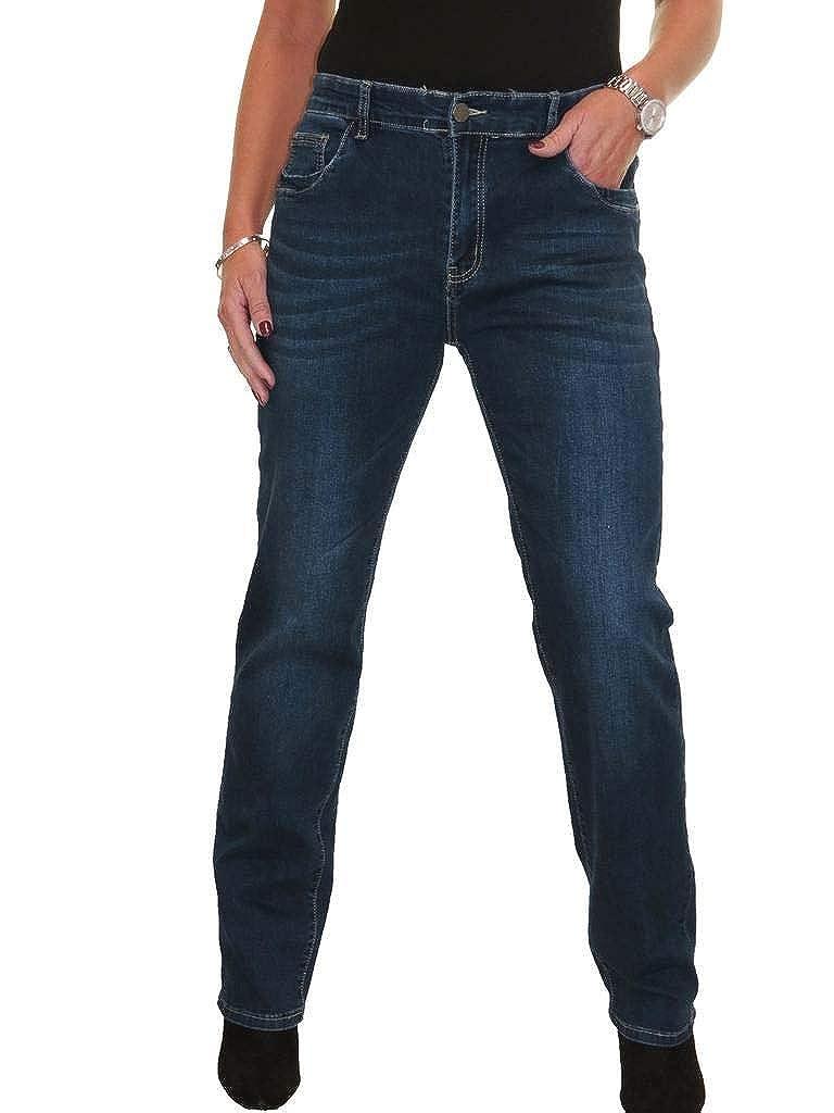 icecoolfashion Straight Leg Stretch Denim Jeans High Waist Fade Indigo Dark Blue 10-18