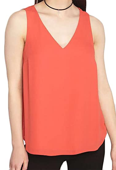 23df84642d7 Lutratocro Women s Plus Size V-Neck Sleeveless Sexy Chiffon Tanks Tops  Orange red1 Medium at Amazon Women s Clothing store