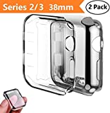 Apple Watch Series 2/3 Case 38mm,Monoy 2-Pack All Around Protective Cover Case Screen Protector for iWatch 2/3 38mm - Black+Clear 38mm