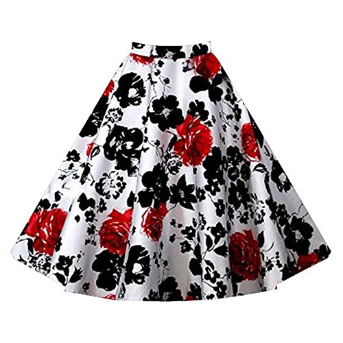 Relipop Women Girl Cute Floral Pleated Knee Length A-line Skater Skirt (Medium, Type 5) (A Line Skirts For Women)