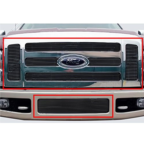 E-Autogrilles Horizontal Overlay Billet Grille Aluminum Combo Kit Black 4mm for 08-10 Ford F-250 / F-350 Super Duty (38-5106B) (Billet F250 Bumper Grille)