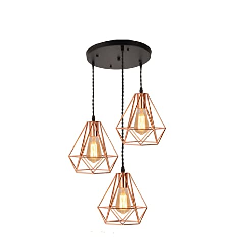 EFINEHOME Vintage Industrial Rose Gold Metal Pyramid Cage Shade