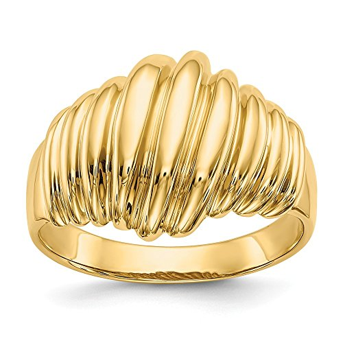 Mia Diamonds 14k Yellow Gold Polished Scalloped Dome Ring