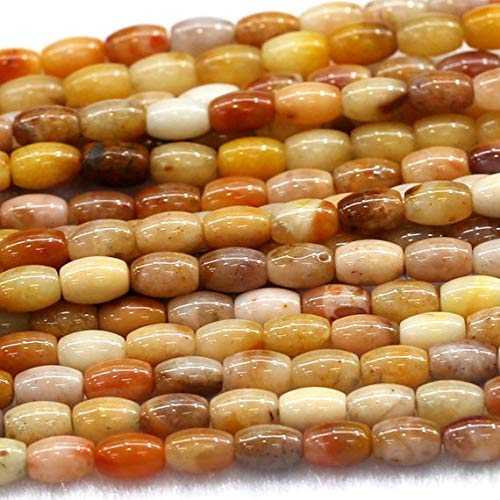 GemAbyss Beads Gemstone 1 Strands Natural Golden Jasper Yellow Jade Rice Shape Loose Small Oval Beads 8x10mm 15 Inch Long 03821 ()
