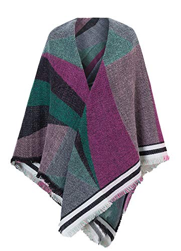 Womens Acrylic Pashmina Geometric Patterns Poncho Cardigan - Misses Sweater Acrylic