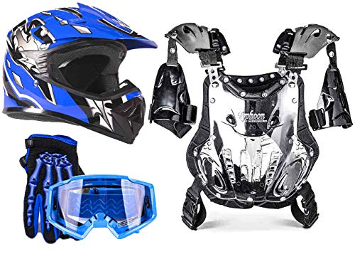 Typhoon Youth Dirt Bike Motocross ATV Helmet Gloves Goggles Chest Protector Combo - Blue (XL)