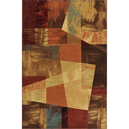 Home Dynamix Catalina Bismark Area Rug | Modern Living Room Rug | Abstract Square Design | Textural Brushstrokes | Brown, Beige and Red 5'3''x7'2''