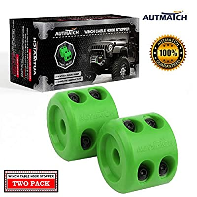 AUTMATCH Winch Cable Hook Stopper (2 Pack) Silicone Rubber Shock Absorbent Winch Stopper Best Winch Accessories for Wire & Synthetic Cables ATV UTV Prevent Pulling Eliminate Abrasion Bouncing Green: Automotive