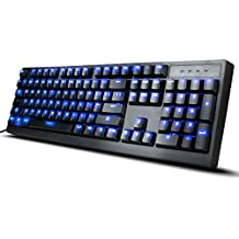 ENHANCE GX-K5 FPS Mechanical Gaming Keyboard with Blue LED Backlighting & TTC Brown Tactile Switches – Great for Counter-Strike: Global Offensive , Overwatch , Call of Duty: Black Ops III & More Games