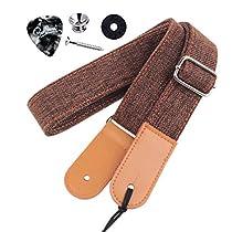 Rinastore Ukulele Strap Country Style Soft Cotton Linen & Genuine Leather Ukulele Shoulder Strap (Blue-US-12)