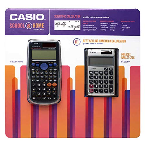 Casio School and Home Calculator Combo Pack Includes FX-300ESPLUS Scientific Calculator and SL-300SV Solar Powered Standard Function Calculator by Casio
