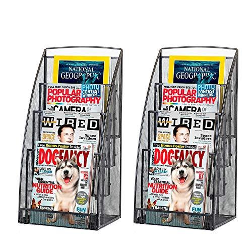 Halter Steel Mesh Magazine Rack/Literature Rack - 4 Pocket - Black - 2 Pack ()
