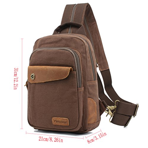Backpack Small Pack Coffee Bag Handbag Men's Leisure Chest Canvas Sling Shoulder Women's coffee vn67Xt