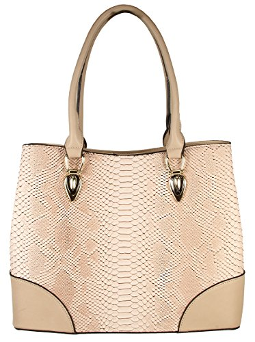 Jenele Python Embossed Pattern Faux Leather Tote Shoulder Hand Bag - ()