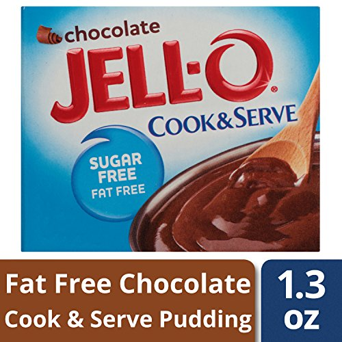 JELL-O Chocolate Sugar Free Cook & Serve Pudding & Pie Filling Mix (1.3 oz Boxes, Pack of 6) (Jello Fat Pie Low)