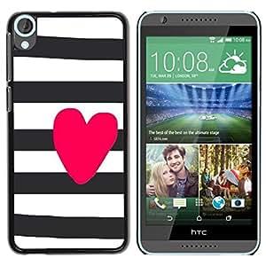 """Pulsar Snap-on Series Teléfono Carcasa Funda Case Caso para HTC Desire 820 , Corazón del amor Rosa Blanco Negro"""""""
