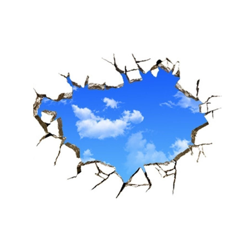 20D Blue Sky Wall Stickers,White Cloud Decals Sticker Cracked ...