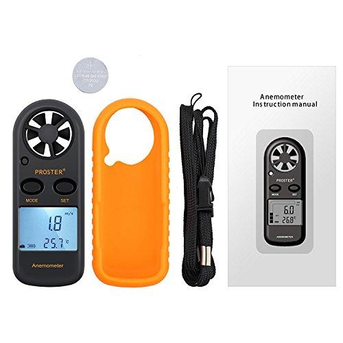 Proster Anémomètre Digital LCD Vitesse du Vent de Mètre Indicateur de Mesure de la Vitesse du Flux d'Air Thermomètre avec Rétro-éclairage