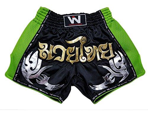010 Green - Lumpinee Retro Original Muay Thai Shorts for Kick Boxing Fight LUMRTO-010 (M, Black Green)