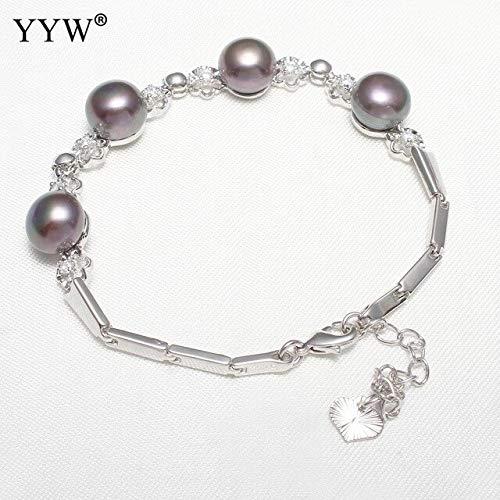 Natural Freshwater Cultured Pearl Bracelets | Rhinestone Cubic Charm Wedding Bridal Jewelry | Pearl Bracelets | for Women ()