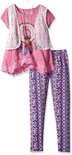 Freestyle Revolution Girls' Big 3pc Mock Vest/Legging/Necklace Set, Festival Fuchsia, 10