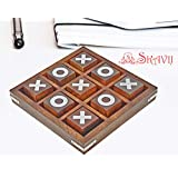 SKAVIJ Tic Tac Toe Game Toy Handmade Wooden Naughts and Crosses Travel Board Game Gifts for Kids