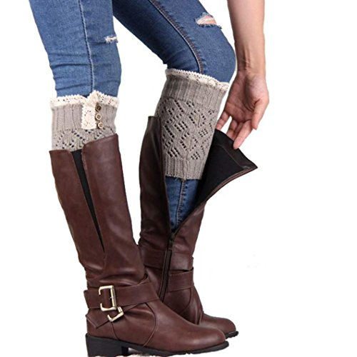 TAORE Women Knee High Socks Winter Boot Cuffs Knit Crochet Leg Warmers (Gray)