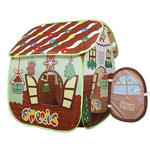 Homfu Play Tent For Kids For Indoor Outdoor Playhouse Boys Girls Child Gift Gingerbread House (Brown Bread)