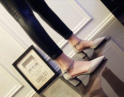 Elegant Word Shoes MDRW Head Lady Shoe Baotou Sharp Work Spring Buckle Gray Heel High 39 Suede One 6Cm Heel Leisure Occupation Single ZB5Bwqrz