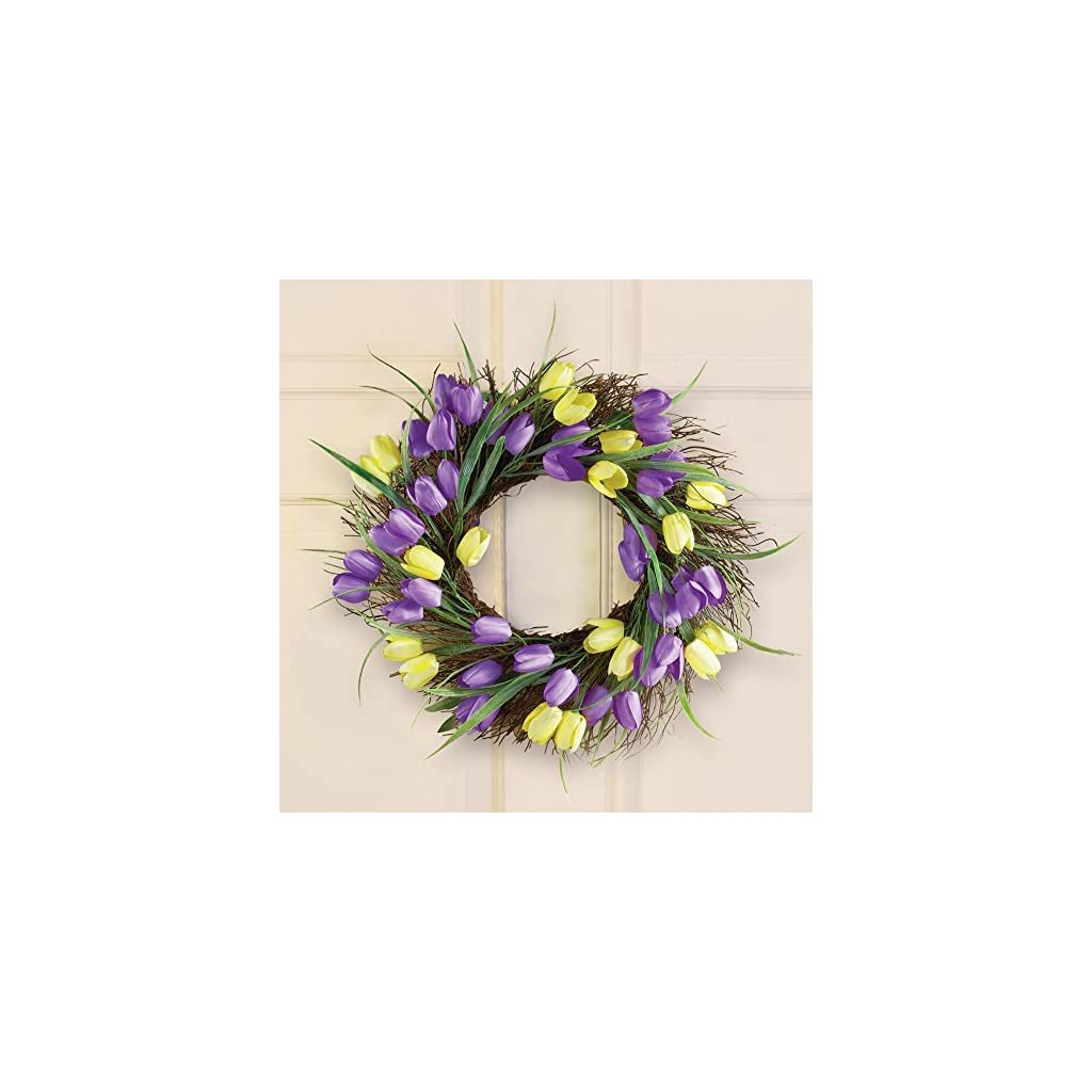 18-Dia-Yellow-Purple-Flowers-Tulips-Wreath-Decor-Easter-Summer-Spring-Accent-Wall-Hanging-Decoration