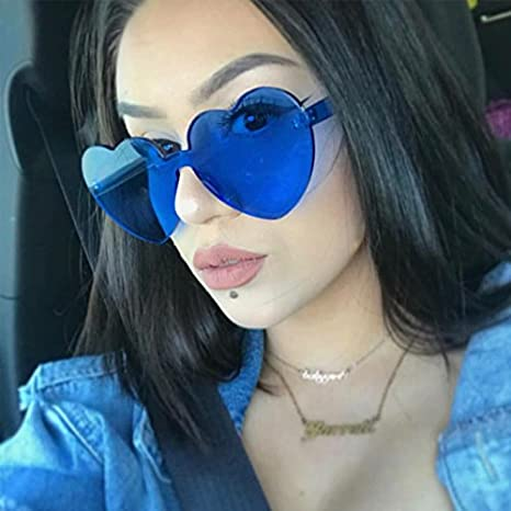 Love Heart Shape Sunglasses Women Rimless Frame Colorful SunGlasses