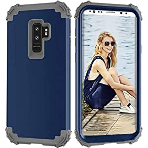 TransparentSoft Silicone Mobile Phone Case For Samsung Galaxy S9 Plus 4 Anti-Fall Anger Design Protective Shockproof Cover-Blue & Grey