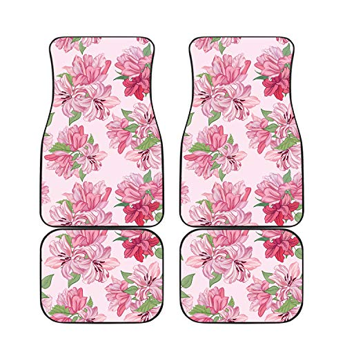 HotCarCovers Car Mats for Women 4-Piece Set for Pink Floral Rose Lily Print Universal Fit Front and Back Car Mat