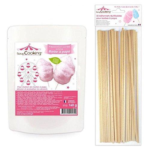 Preparazione per zucchero filato rosa 160 g + 25 bastoncini Youdoit