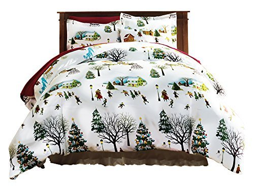 The Paragon Christmas Village Full/Queen Size Duvet Cover Set - Soft Microfiber Reversible Comforter Cover, Holiday Printed Pattern, Easy-Care Comfortable Duvet Cover with Matching Standard Shams (Quilt Christmas Cover Set)